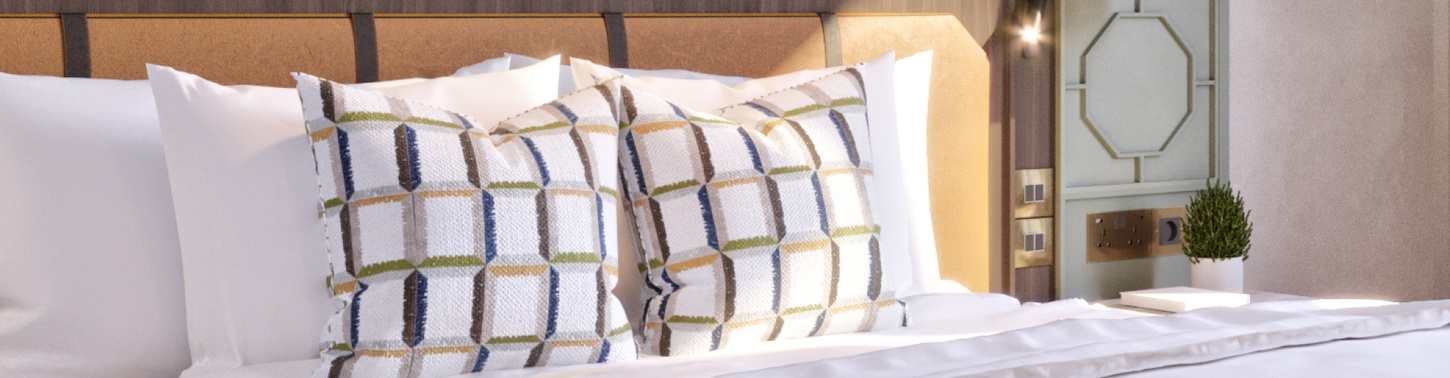 Cushions on bed
